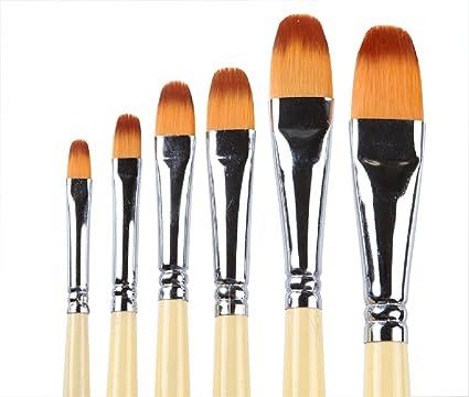 6pcs//set Sable Hair Flat artist Paint Brush for Oil Acrylic Gouache Watercolor