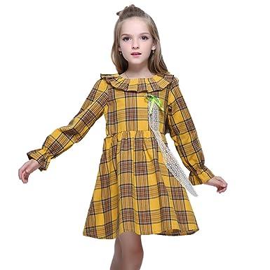 Amazon.com  Kseniya Kids Big Little Girls Cotton Dresses Peter Pan Collar  Plaid Petal Sleeve Bowknot Lace Girl Autumn Winter Dress  Clothing 69811ec11588