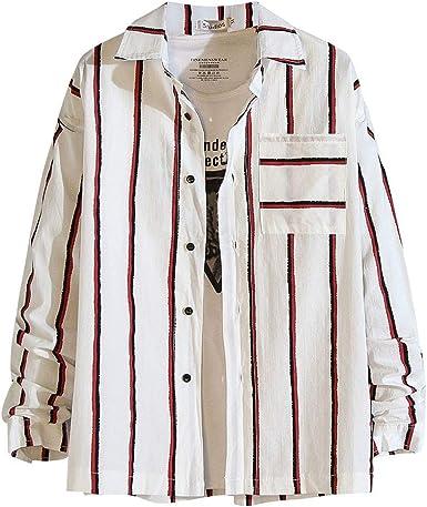 Camisa de Manga Larga con Bolsillo Estampado Casual a Rayas para Hombre, Moda Camisa Hombre Camisa Streetwear otoño del diseñador Camisas Rojo XXL: Amazon.es: Ropa y accesorios