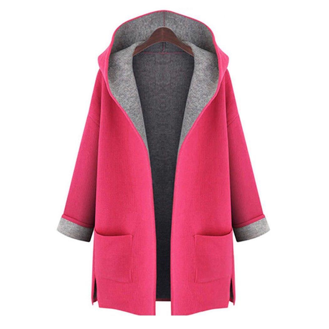 MIOIM Womens Hooded Coat Ladies Long Sleeve Plus Size Cardigan Jacket Outwear S2332831