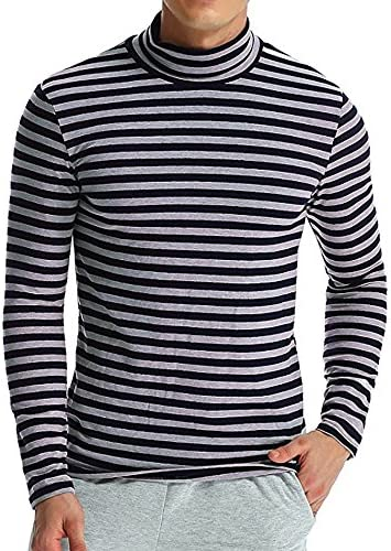 iLXHD Autumn Striped Turtleneck T Shirt