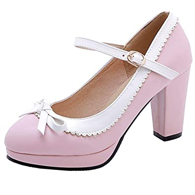 37fac591f34c0 Vitalo Womens Vintage Rockabilly Shoes Mary Jane Chunky High Heels Platform  Pumps with Bowtie Size 3