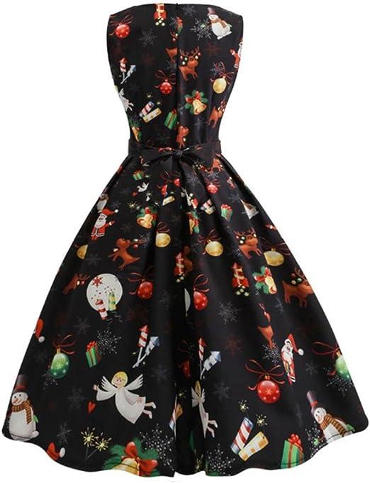 Moonuy damska sukienka bożonarodzeniowa, dla kobiet i dziewcząt, na Boże Narodzenie, z długim rękawem, sukienka wieczorowa, długość do kolan, jeleń, choinka, dekoracyjna: Odzie&