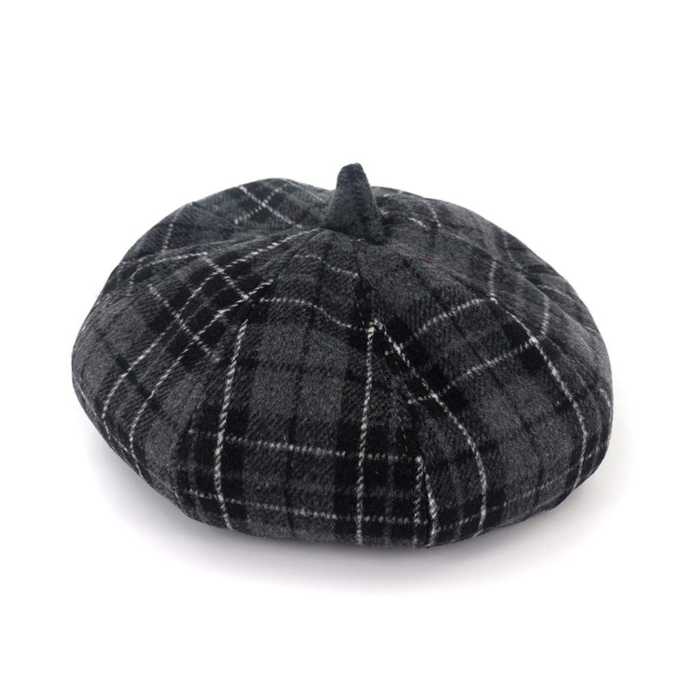 Lisianthus Women's Wool Blended French Beret Hat with Plaid Pattern Grey