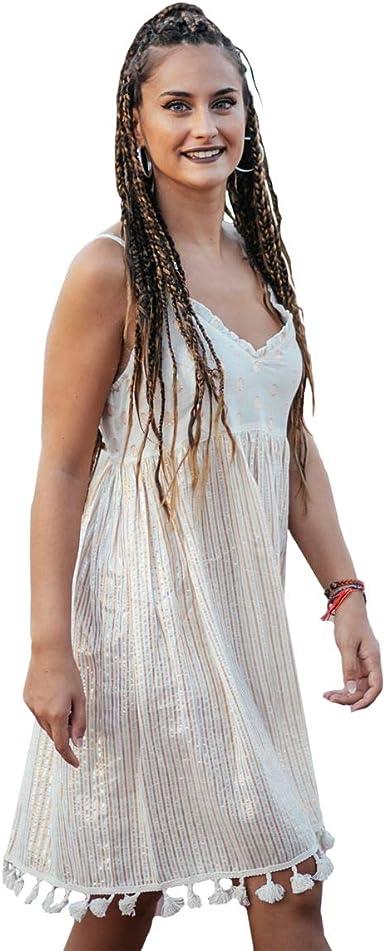 Decor and Go Vestido S-M-L-XL Color Blanco de Algodón Isla Bonita ...