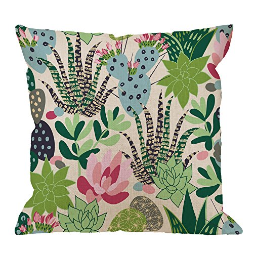HGOD DESIGNS Cactuses Decorative Throw Pillow Cover Case,Succulents and Cactuses Cotton Linen Outdoor Pillow cases Square Standard Cushion Covers For Sofa Couch Bed 18x18 inch Green Pink (Pink And Green Pillows)