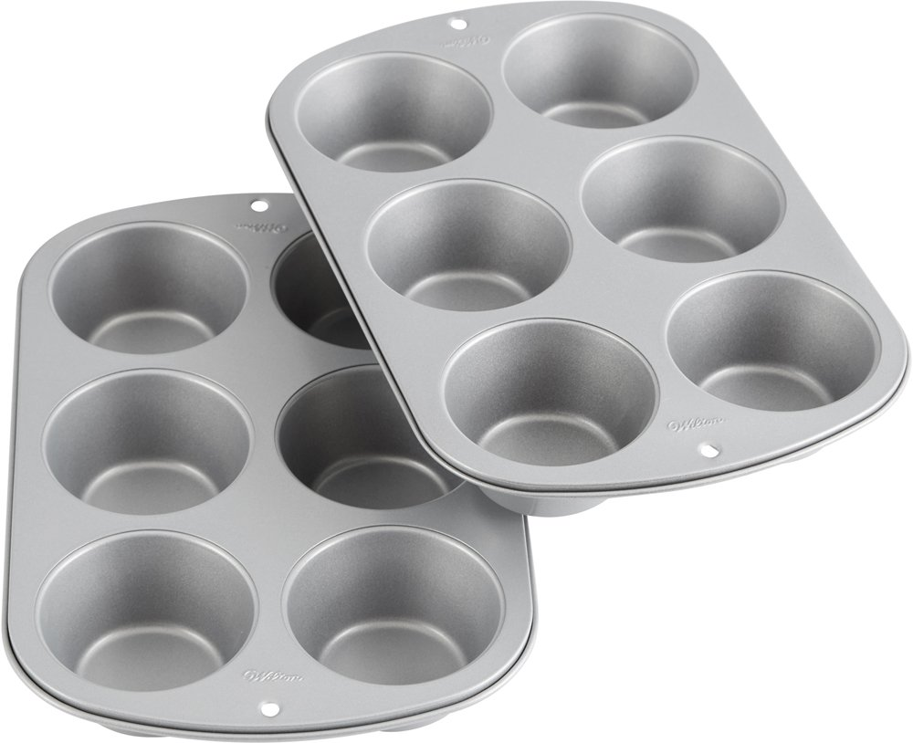 Wilton Recipe Right Jumbo Non-Stick Muffin Pan Multipack, 6-Cup (2-Pack)