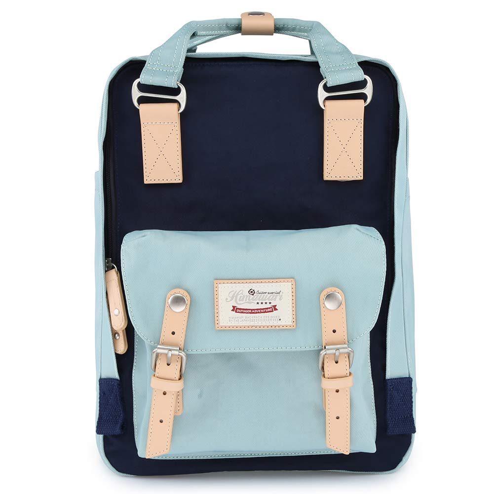 Himawari School Functional Travel Waterproof Backpack Bag for Men & Women | 14.9''x11.1''x5.9'' | Holds 13-in Laptop (Light Blue&Dark Blue)