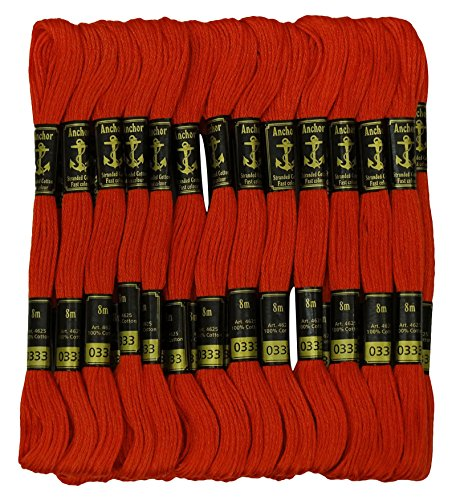(25 x Anchor Threads Stranded Cotton Thread Hand Cross Stitch Sewing Embroidery Floss Skeins-Red)