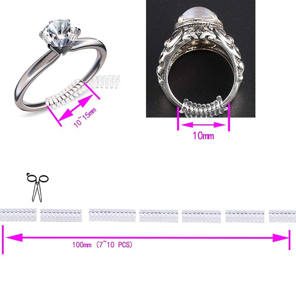 3 Styles Ring Size Adjuster Ring Snuggies Invisible for Loose Rings Clip for Ring