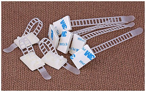 Magic&Shell 100pcs 91mm Adjustable Self Adhesive Cable Clips Wire Organizer with Optional Screw Mount for Electric Wiring Accessories Cable Clamp Clips Fixed Fasten Cable Tie White by Magic&Shell