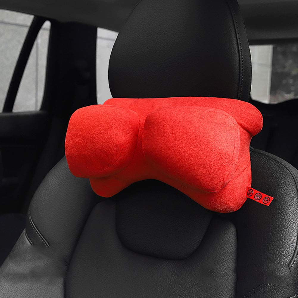 Car Neck Pillow,Ergonomic Driving Pillow for Car Seat Vehicle Auto Accessories,Comfortable and Adjustable Neck Support Soft and Breathable Neck Pain Relief,Red by SXJ