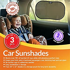 DriveMate Car Sun Shade Side and Rear Window Protectors | Keep Kids and Pets Cooler | Flexible, Heat, Glare, and Light-Blocking Sunshades | Quick and Easy Install (3 Pack)