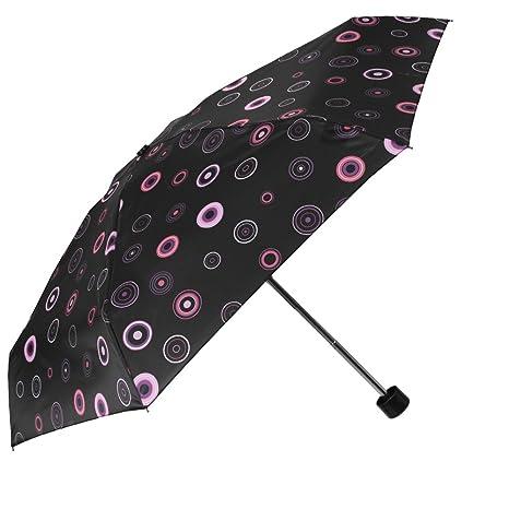 Paraguas Plegable Mujer - Super Mini Paraguas Automatico con Círculos - De Bolso Compacto y Antiviento