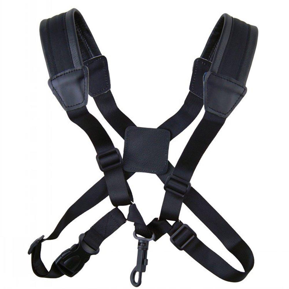 Xinlinke Alto Tenor Adjustable Sax Saxophone Leather Strap Snap Hook Harness Double Shoulder Design Professional Music Instrument Accessories