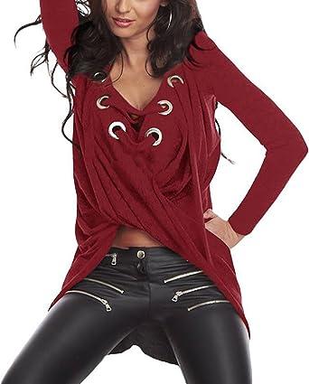 Tops Mujer Blusas Elegante V Cuello con Cordones Manga Larga Blusa Color Sólido Anchas Niñas Ropa Casual Moda Primavera Otoño Asimetricas Tallas Grandes Camisetas (Color : Rojo, Size : One Size): Amazon.es: