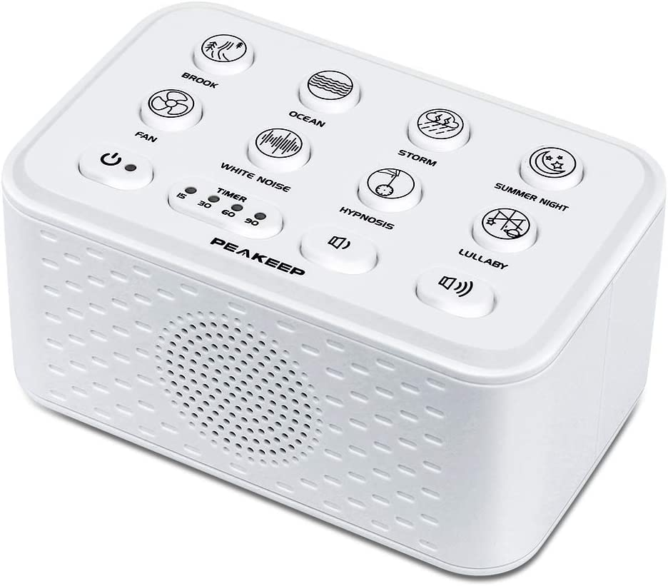PEAKEEP Nature Sounds White Noise Sleep Sound Machine with USB Charging Port and Earphone Jack, Dual Power Supply with Electronic AC Adapter or Battery Operated