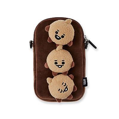 BT21 Official Merchandise by Line Friends - SHOOKY Character Plush Figure Design Mini Messenger Shoulder Cross Bag, Brown: Computers & Accessories