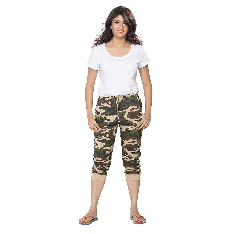 Clifton Womens Cuffed Camouflage Comfort Capri - Saffari