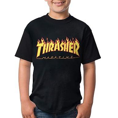 1ff52e12ad34 Reneealsip Thrasher Magazine Youth Kids Raglan Jersey Short Sleeve Baseball  T Shirts Black