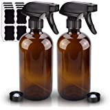 2 Pack Glass Spray Bottle, Wedama Amber 16oz Glass Spray Bottle Set & Accessories for Aromatherapy Facial hydration Watering
