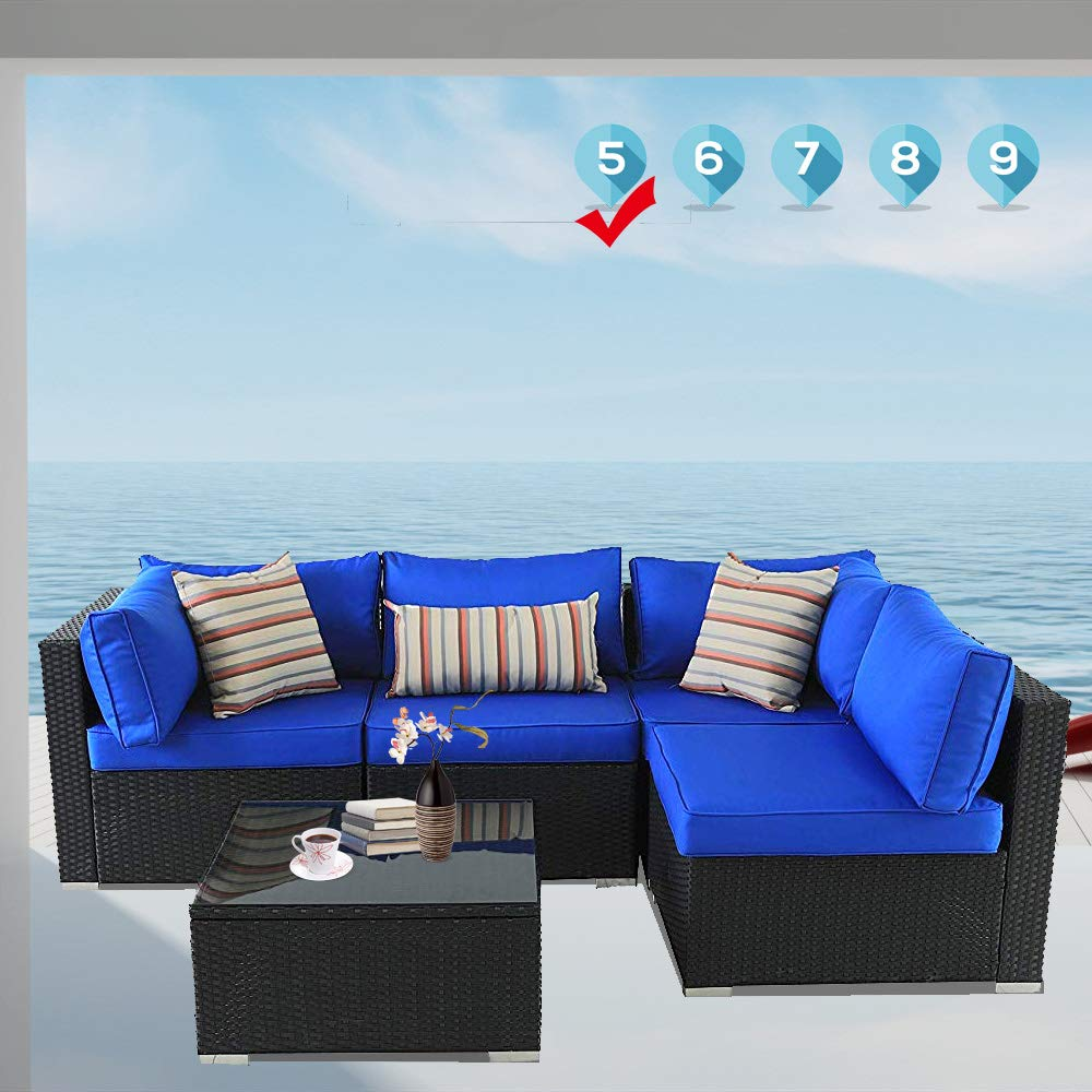 Leaptime Patio Sofa Garden Furniture 5-Piece Sectional Sofa Set Black Wicker Royal Blue Cushion by Leaptime