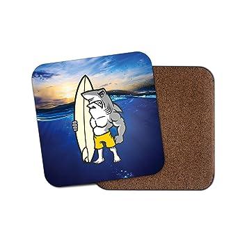 Tiburón Surf Tabla de surf Surfer corcho Bebidas Posavasos para té y café # 4062,
