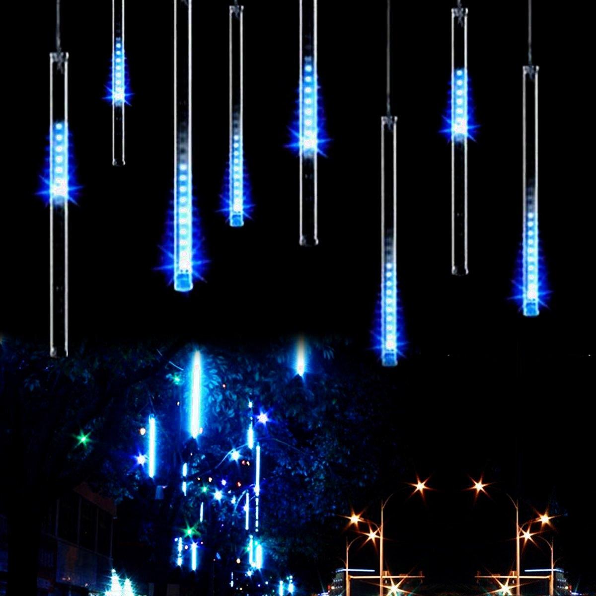 Meteors Shower Light, Guaiboshi 30cm 8 Tubes 144LEDs USB Powered Waterproof Rain Drop Light Icicle Fairy Lights for Xmas(Blue) [Energy Class A+]