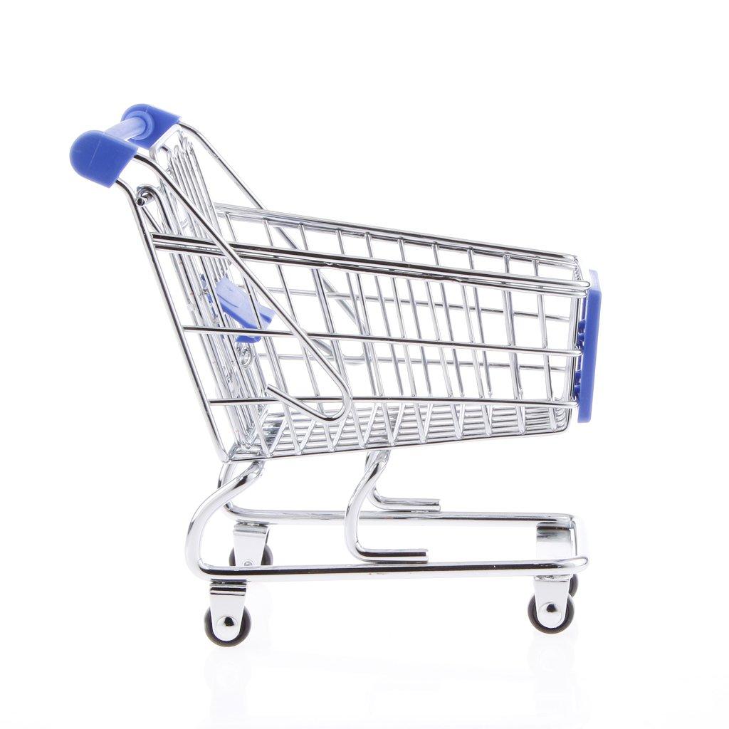 Toygogo Mini Supermarket Handcart Shopping Cart Storage Trolley Kids Pretend Play Toy - Blue by Toygogo
