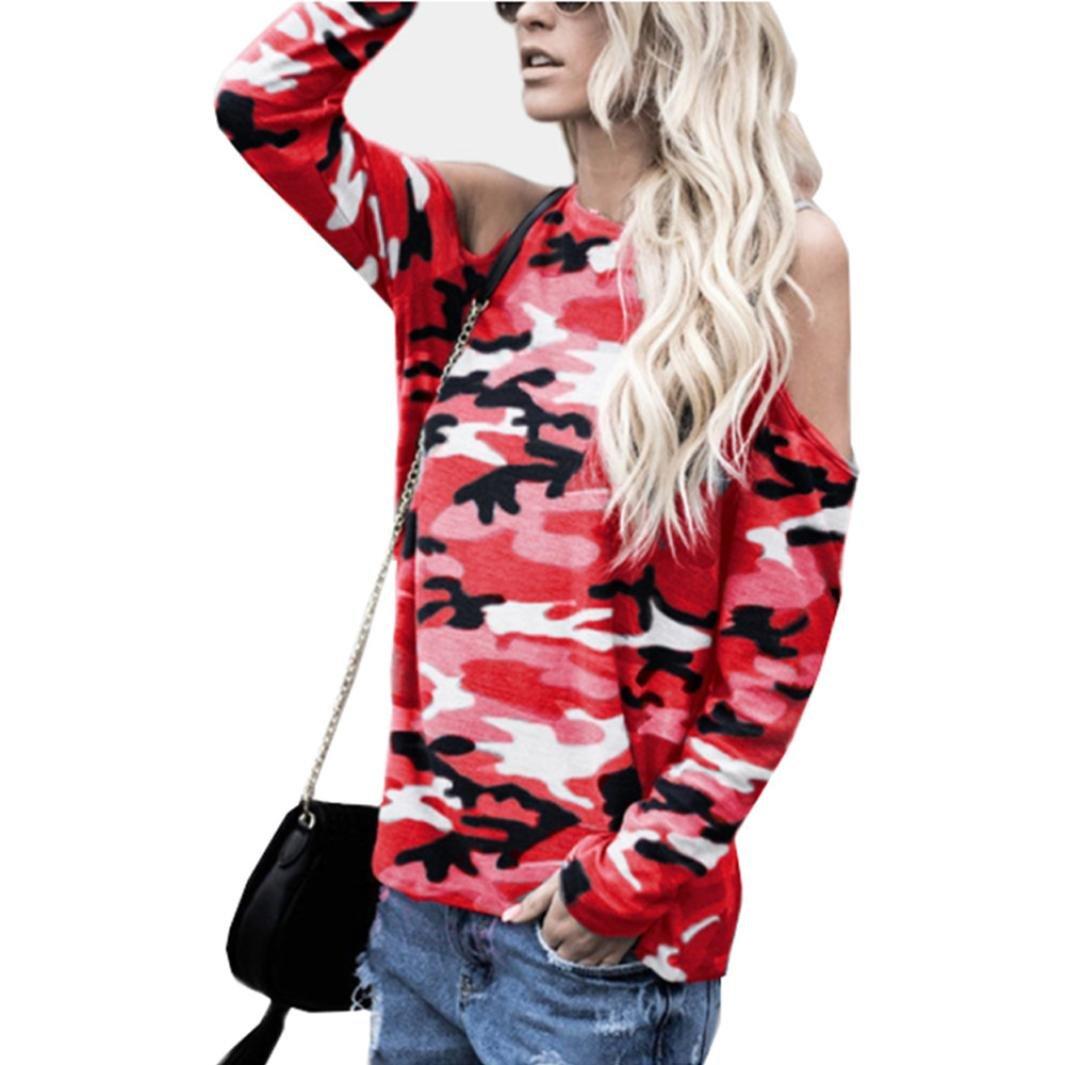 Cloom Frauen Top Langarm Schulterfrei Camouflage Bluse Damen Lange Ärmel Pullover T Shirt Weg vom Schulter Hemdblusen Damen Mode Frühling Langarmshirts Schöne Oberteile Damen