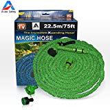 Garden Hose, Expandable Hose,75 Feet Expandable , 8-pattern Sprayer Nozzle, Rust-free, Watering Hose, Flexible Hose, Easy Home Storage , with Brass Connector and Spray Nozzle by Auto Safety (Green)