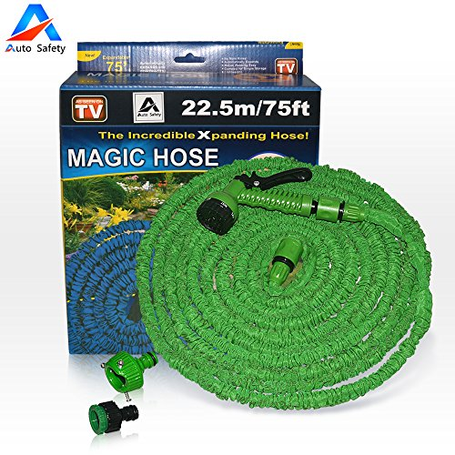 Garden Hose, Expandable Hose,75 Feet Expandable , 8-pattern Sprayer Nozzle, Rust-free, Watering Hose, Flexible Hose, Easy Home Storage , with Brass Connector and Spray Nozzle by Auto Safety (Green) by Auto Safety