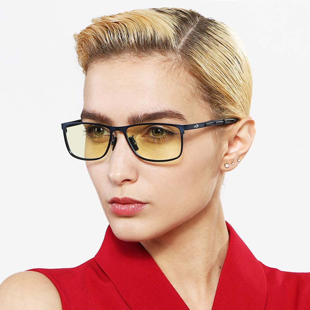 コンピュータ使用のための青いライトブロッキングのガラス透明なレンズのゲームのメガネ Nisex (男性/女性),Black  Black B07NRXH693