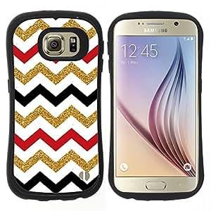 """Hypernova Slim Fit Dual Barniz Protector Caso Case Funda Para Samsung Galaxy S6 [Patrón marroquí de Oro Rojo Negro Blanco""""]"""