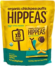 HIPPEAS Organic Chickpea Puffs + Vegan White Cheddar | 1 ounce, 6 count | Vegan, Gluten-Free, Crunchy, Protein Snacks