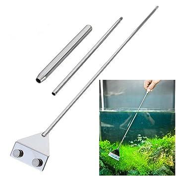 UEETEK - Rasqueta de acero inoxidable para limpiar algas de acuario y peceras, 65 cm: Amazon.es: Productos para mascotas