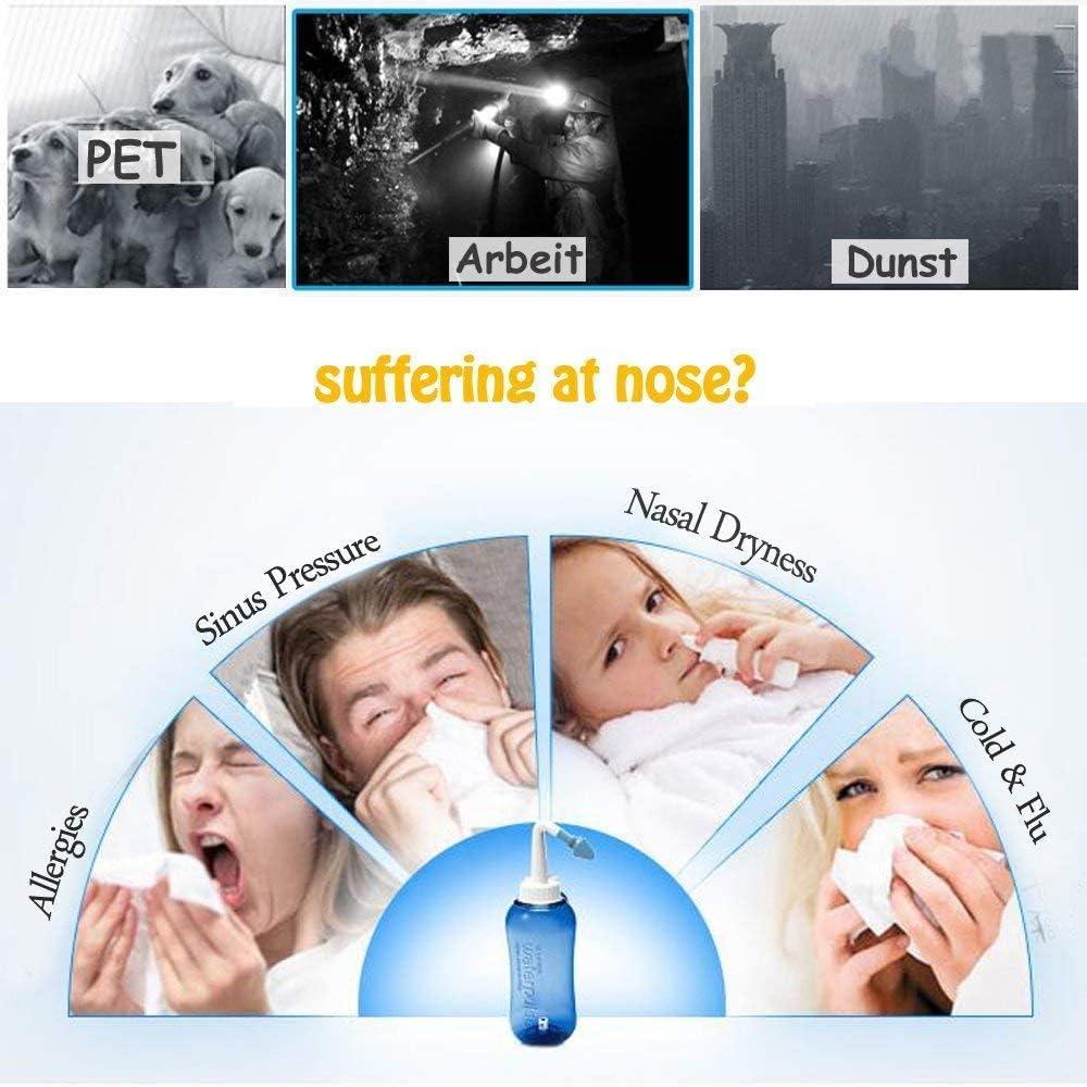 Nettoyage Nasal Nasal Nasal Nez de rin/çage Nettoyage du Nez Nasal pour Les Enfants et Douche Adultes de la nasale Douche rhume des foins,300ML LLDKA Nasal Douche