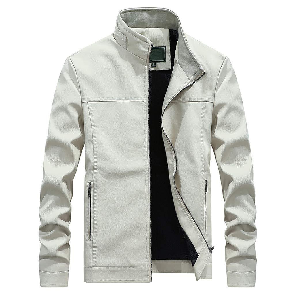 YKARITIANNA Men's Autumn Fashion Pure Color Stand Collar Imitation Leather Jacket Coat 2019 Summer White