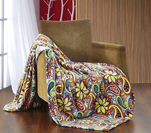 All American Collection New Super Soft Printed Paisley Flower Sidney Throw Blanket Queen/King Size