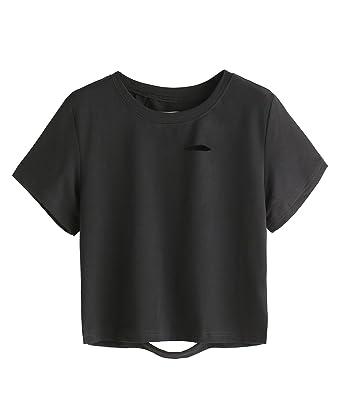 SweatyRocks Tshirt Camo Print Distressed Crop T-shirt at Amazon ...
