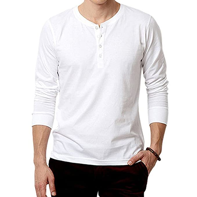 c9a181a23d24 Hbhwear Mens White Henley Full sleeve T-shirt-Small  Amazon.in  Clothing    Accessories