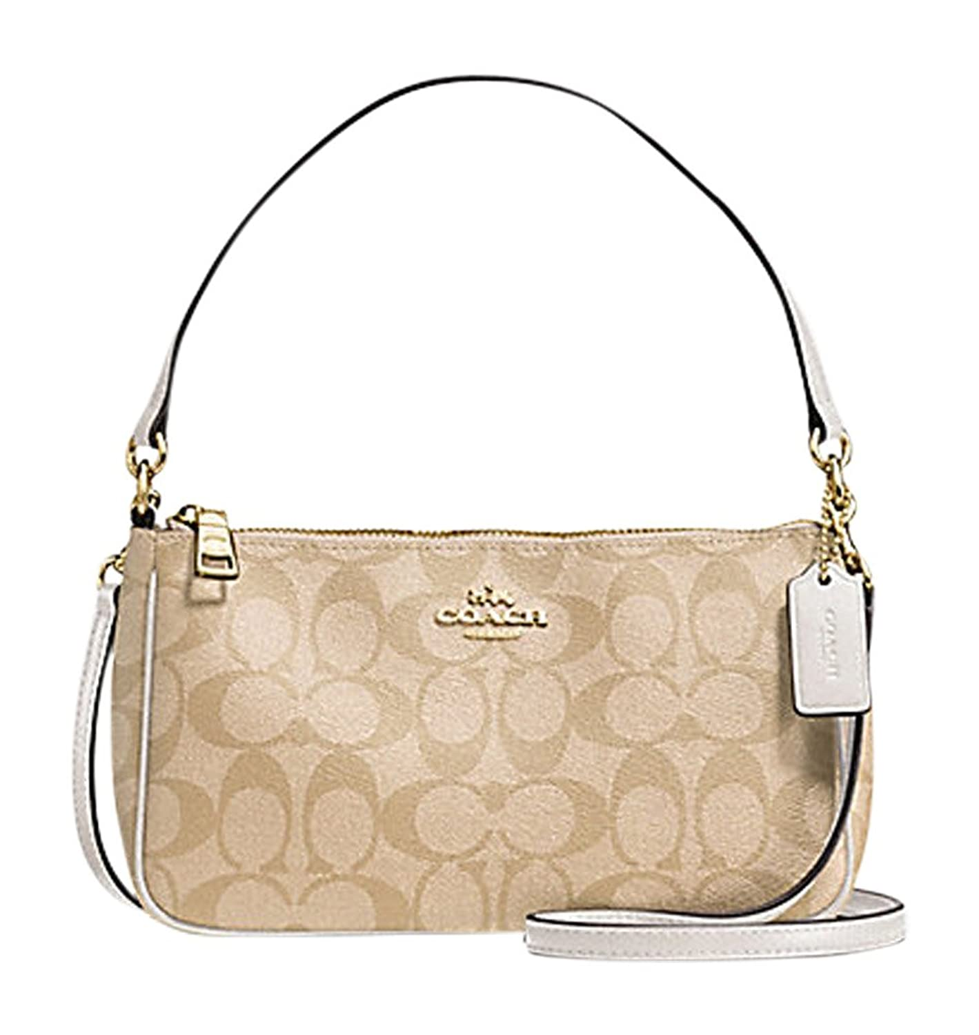 coach shoulder bag outlet bg95  outlet COACH Signature Coated Canvas Top Handle Crossbody F58321 Light  Khaki/Chalk
