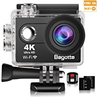 Bagotte Sport Action Cam, Action Camera 4K Ultra FHD 16MP 170° Angolo ampio Sott'acqua Camera with 2 batterie, Telecomando WiFi,for Nuoto,Arrampicata,Immersione,Sciare (Nero)