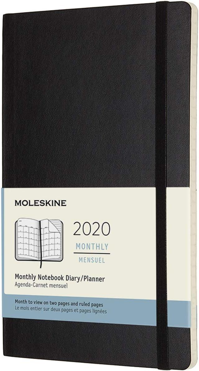 Moleskine Monthly 2020 - Agenda Mensual de 12 Meses en Plan Orizontal con Tapa Blanda, Grande (13 x 21 cm), Negro (Black) (AGENDA 12 MOIS)