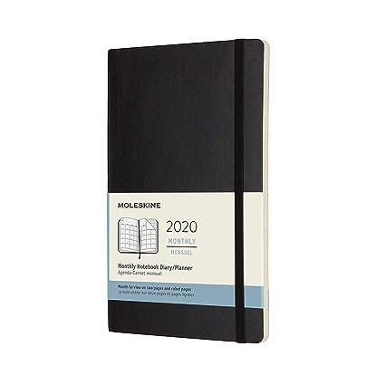 Moleskine Monthly 2020 - Agenda Mensual de 12 Meses en Plan Orizontal con Tapa Blanda, Grande (13 x 21 cm), Negro (Black)