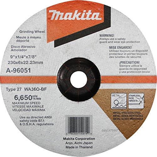 Makita A-96051 9'' x 1/4'' x 7/8'' INOX Grinding Wheel, 36 Grit by Makita