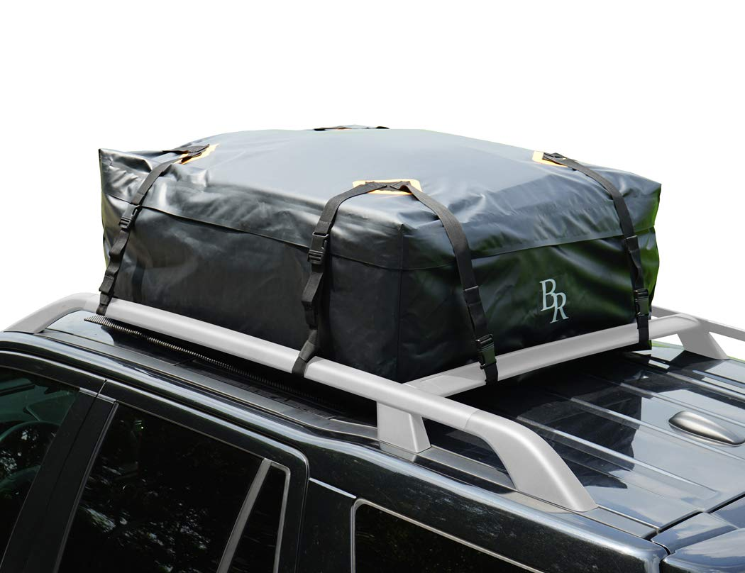 Bear Race Car Rooftop Cargo Carrier Bag, 100% Waterproof Luggage Bag with Anti-Slip Protective Mat, Large Travel Cargo Storage Bag for Vehicle Van SUV with or Without Roof Rack, 15 Cubic Feet, Black BETTER DESIGN