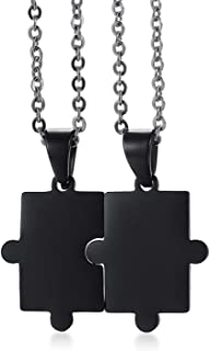 Aooaz Jewelry Stainless Steel Matching Puzzle Necklace Pendant Necklace Balck