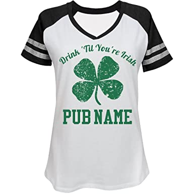 a332a9007 Custom Irish Bar St Patricks Day: Ladies District Made Relaxed Fit V-Neck  Tee at Amazon Women's Clothing store: