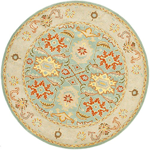 Safavieh Heritage Collection HG734A Handmade Traditional Oriental Light Blue and Ivory Wool Round Area Rug (8′ Diameter)